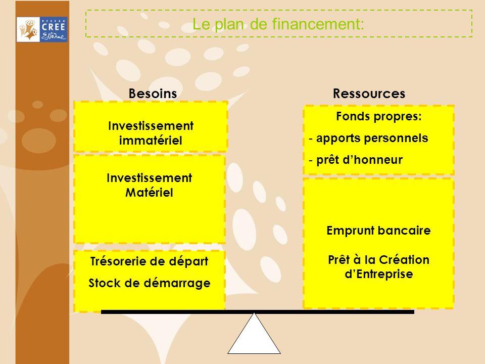 Le plan de financement: Investissement immatériel Investissement Matériel Trésorerie de départ Stock de démarrage Fonds propres: - apports personnels