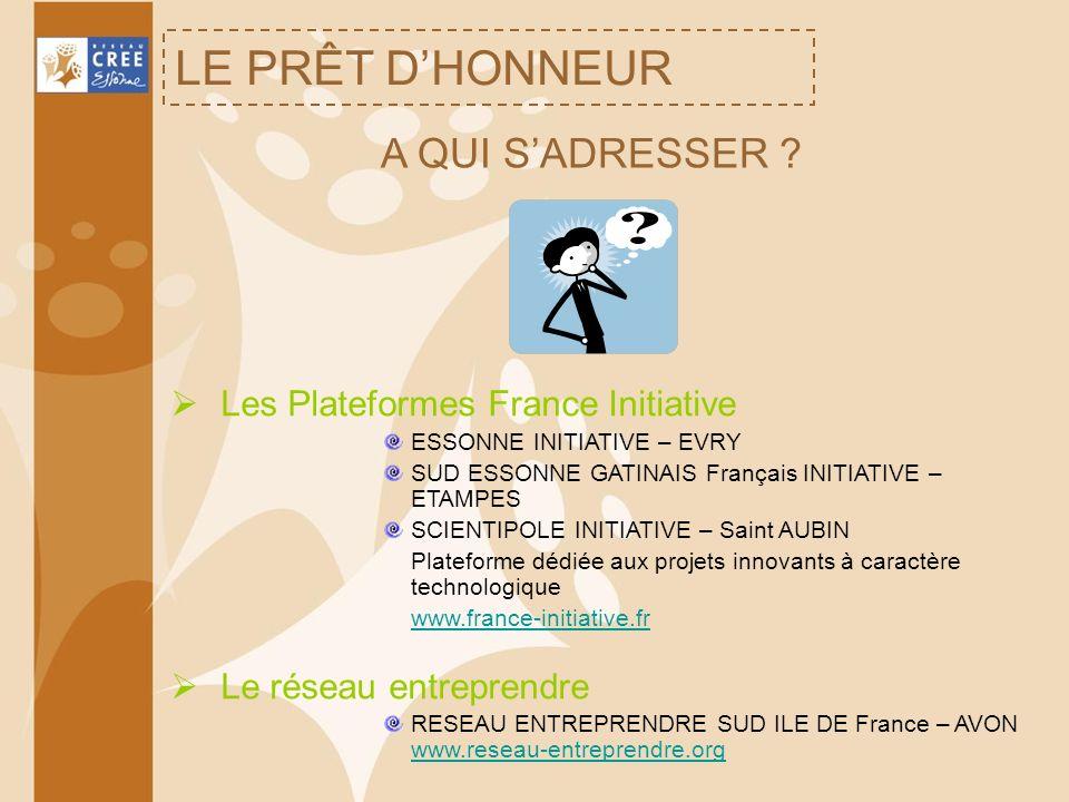 LE PRÊT DHONNEUR A QUI SADRESSER ? Les Plateformes France Initiative ESSONNE INITIATIVE – EVRY SUD ESSONNE GATINAIS Français INITIATIVE – ETAMPES SCIE