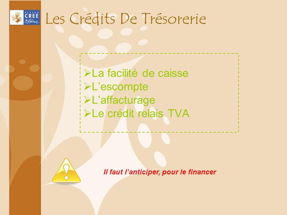 Les Crédits De Trésorerie La facilité de caisse Lescompte Laffacturage Le crédit relais TVA Il faut lanticiper, pour le financer