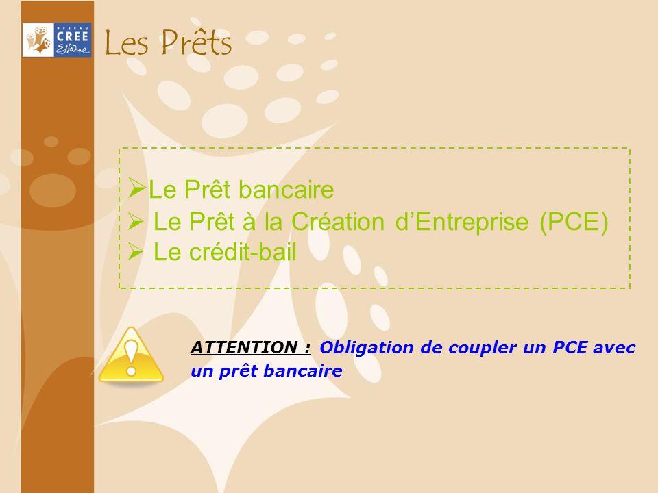Les Prêts Le Prêt bancaire Le Prêt à la Création dEntreprise (PCE) Le crédit-bail ATTENTION : Obligation de coupler un PCE avec un prêt bancaire