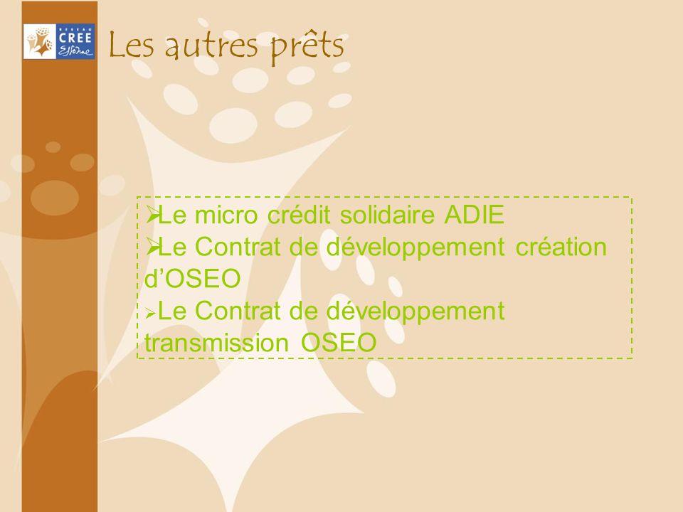 Le micro crédit solidaire ADIE Le Contrat de développement création dOSEO Le Contrat de développement transmission OSEO Les autres prêts