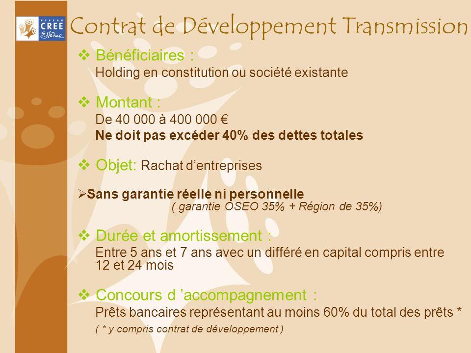 Contrat de Développement Transmission Bénéficiaires : Holding en constitution ou société existante Montant : De 40 000 à 400 000 Ne doit pas excéder 4