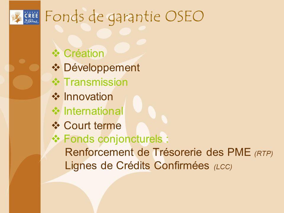 Fonds de garantie OSEO Création Développement Transmission Innovation International Court terme Fonds conjoncturels : Renforcement de Trésorerie des P