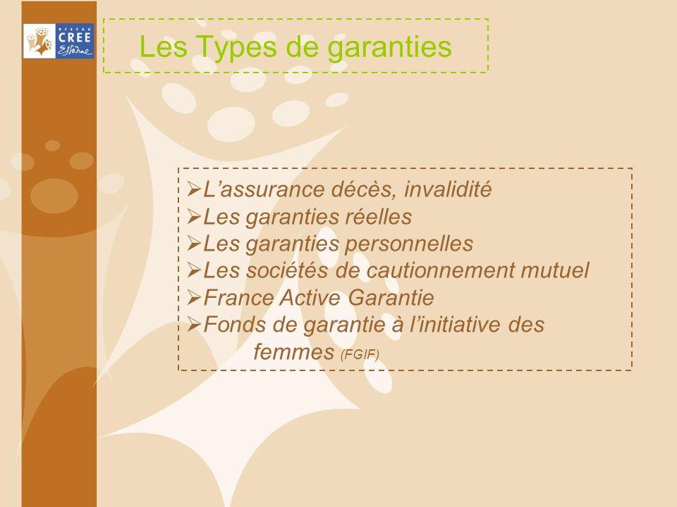 Les Types de garanties Lassurance décès, invalidité Les garanties réelles Les garanties personnelles Les sociétés de cautionnement mutuel France Activ