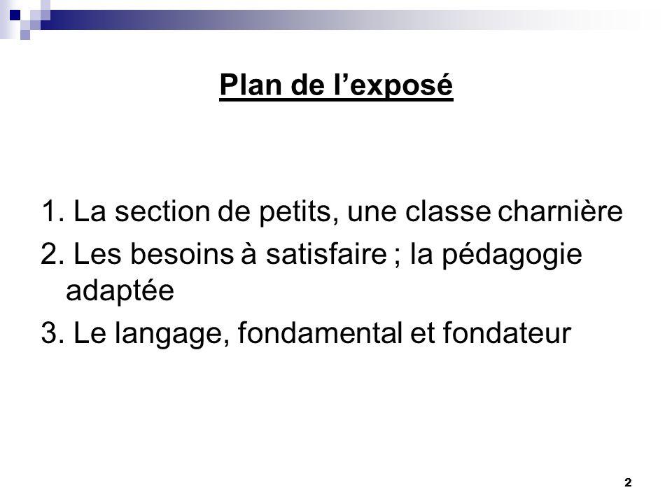 2 Plan de lexposé 1.La section de petits, une classe charnière 2.