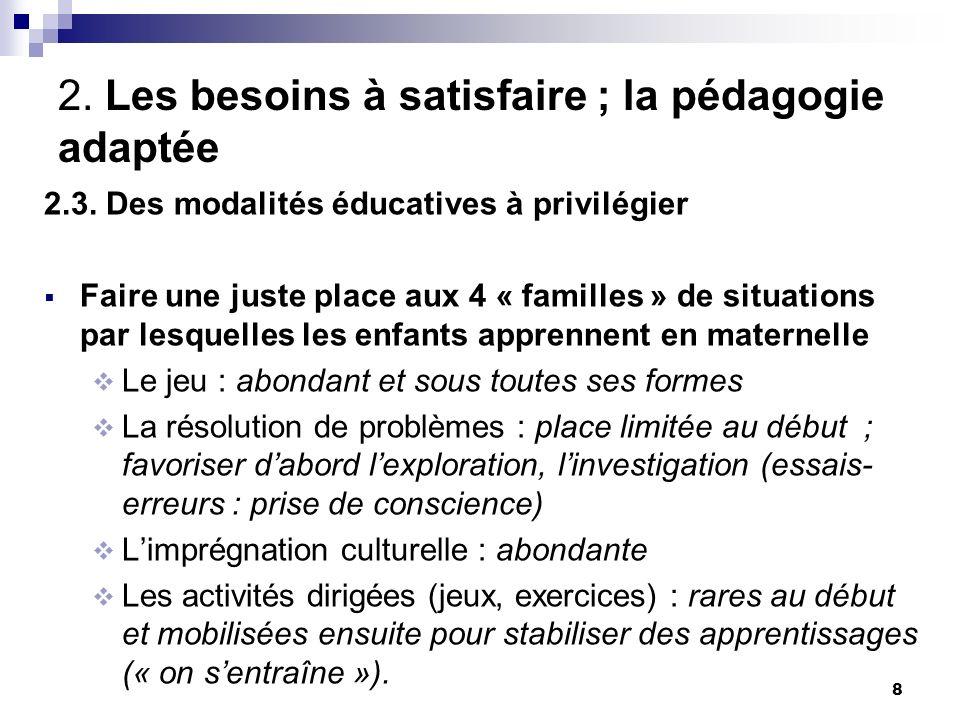 8 2.Les besoins à satisfaire ; la pédagogie adaptée 2.3.