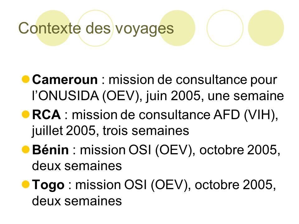 Contexte des voyages Cameroun : mission de consultance pour lONUSIDA (OEV), juin 2005, une semaine RCA : mission de consultance AFD (VIH), juillet 2005, trois semaines Bénin : mission OSI (OEV), octobre 2005, deux semaines Togo : mission OSI (OEV), octobre 2005, deux semaines