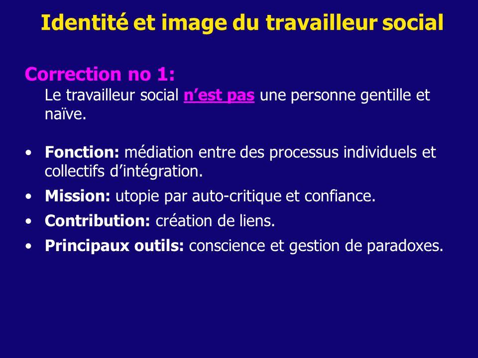 Identité et image du travailleur social Correction no 1: Le travailleur social nest pas une personne gentille et naïve. Fonction: médiation entre des
