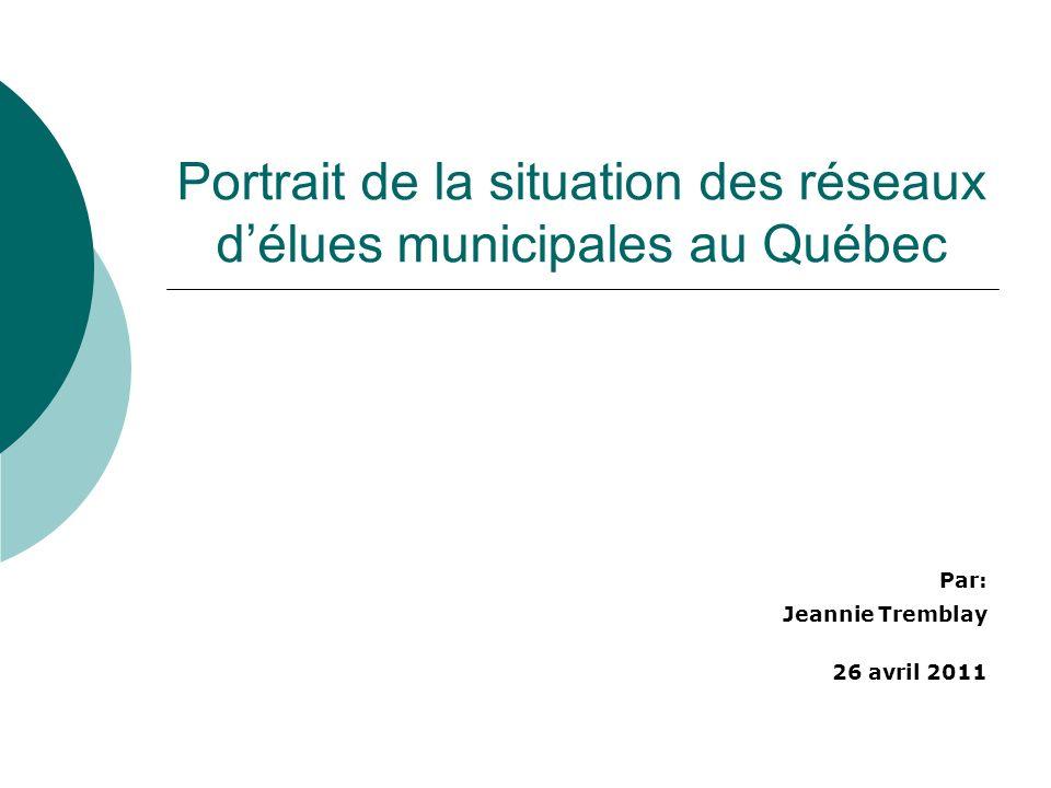 Portrait de la situation des réseaux délues municipales au Québec Par: Jeannie Tremblay 26 avril 2011