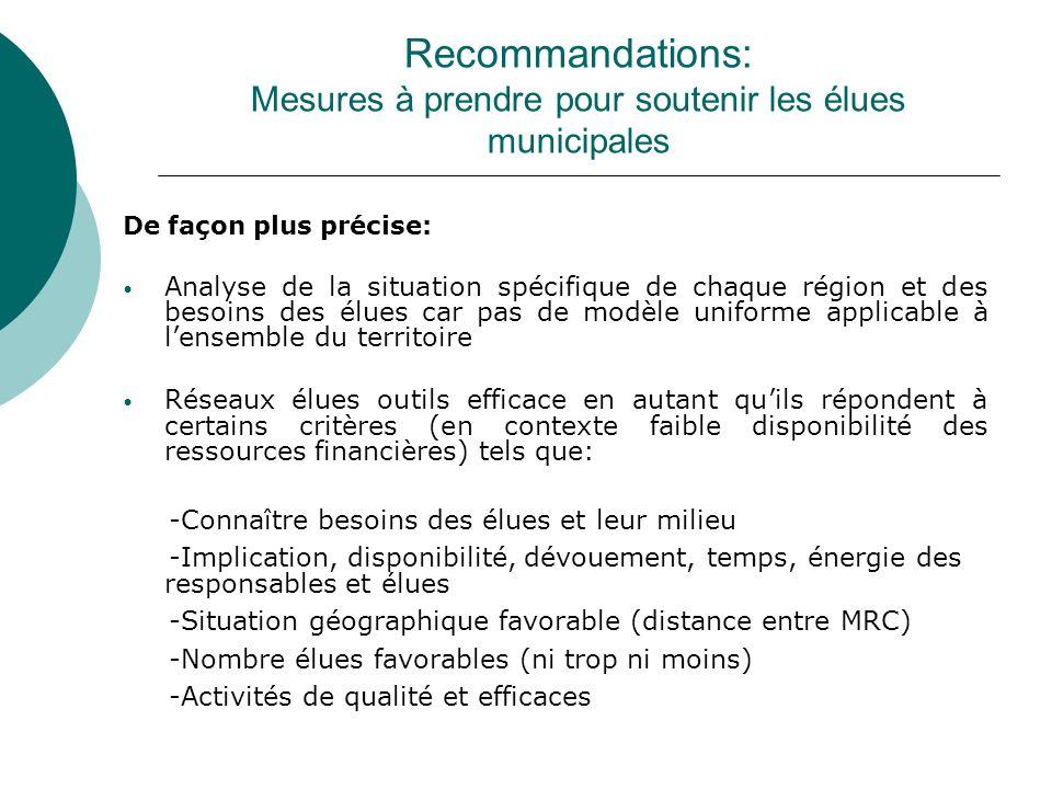 Recommandations: Mesures à prendre pour soutenir les élues municipales De façon plus précise: Analyse de la situation spécifique de chaque région et d