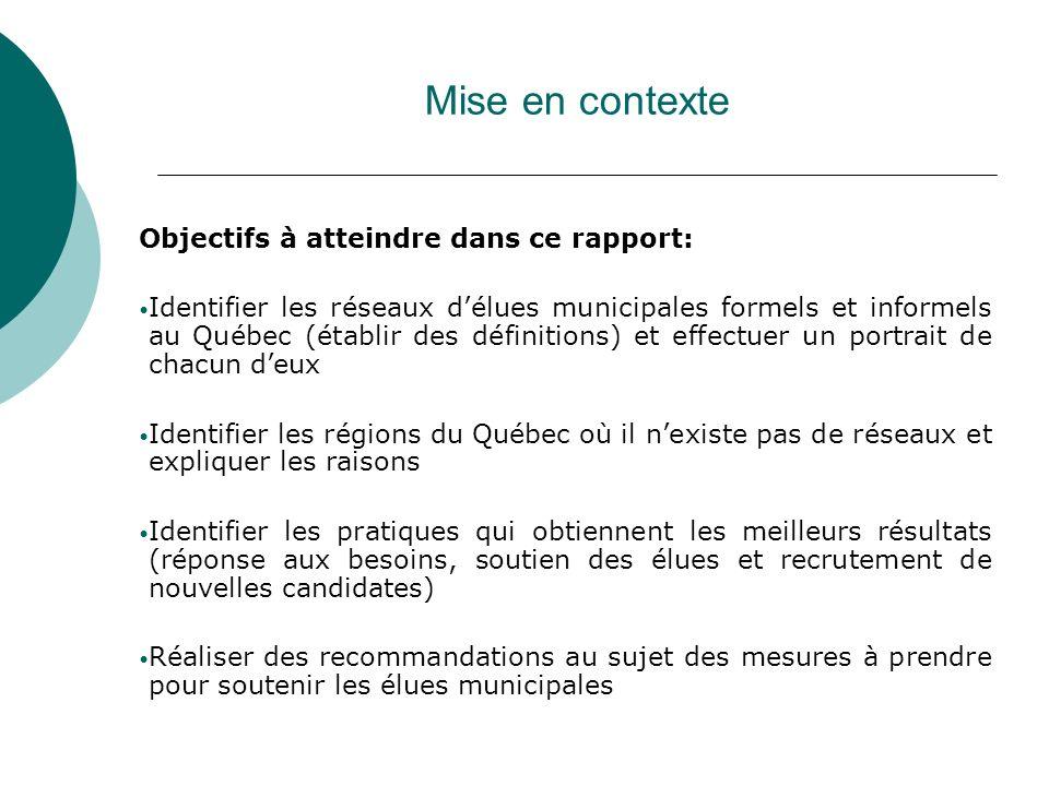 Mise en contexte Objectifs à atteindre dans ce rapport: Identifier les réseaux délues municipales formels et informels au Québec (établir des définiti