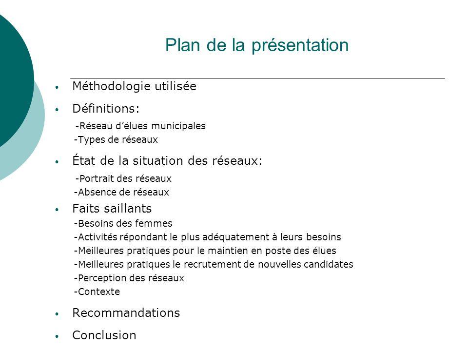 Plan de la présentation Méthodologie utilisée Définitions: -Réseau délues municipales -Types de réseaux État de la situation des réseaux: -Portrait de