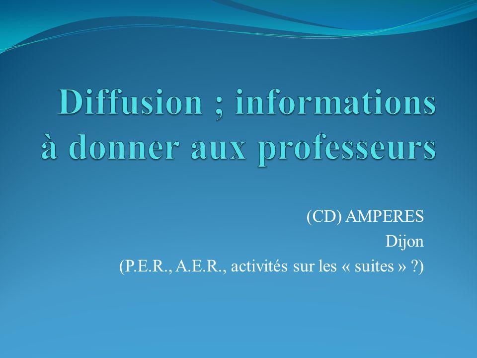 (CD) AMPERES Dijon (P.E.R., A.E.R., activités sur les « suites » ?)
