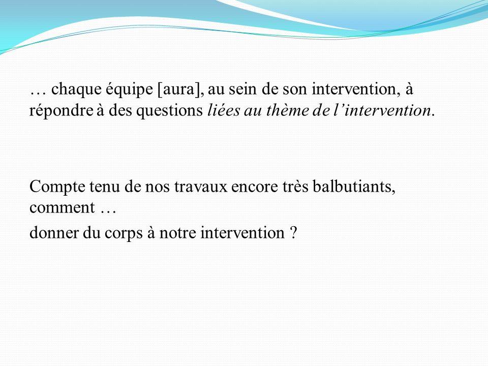 … chaque équipe [aura], au sein de son intervention, à répondre à des questions liées au thème de lintervention.