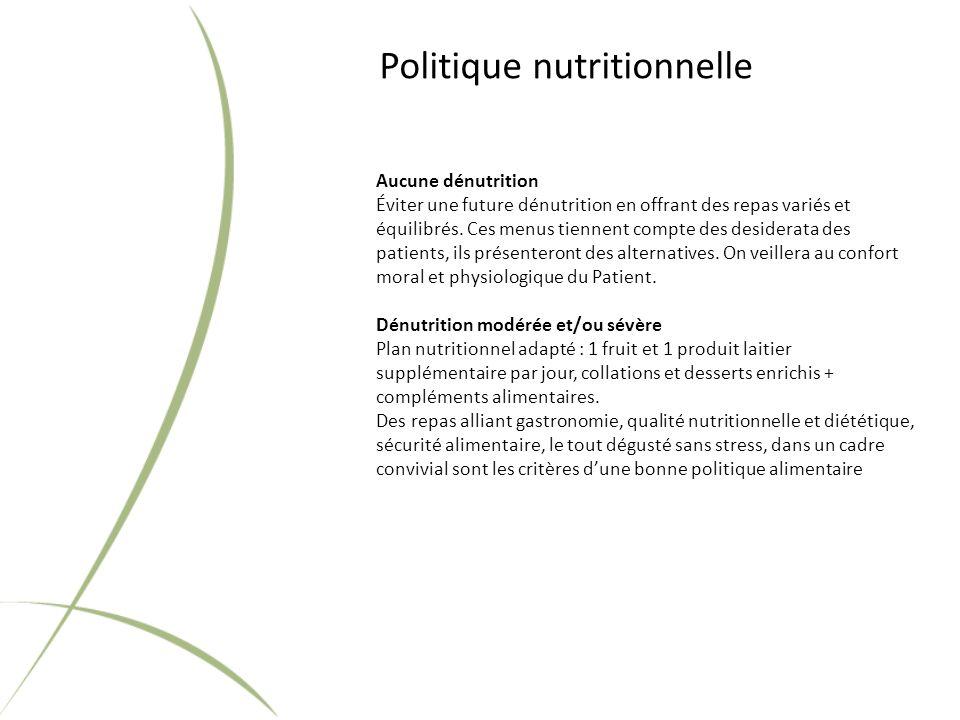 Politique nutritionnelle Aucune dénutrition Éviter une future dénutrition en offrant des repas variés et équilibrés.
