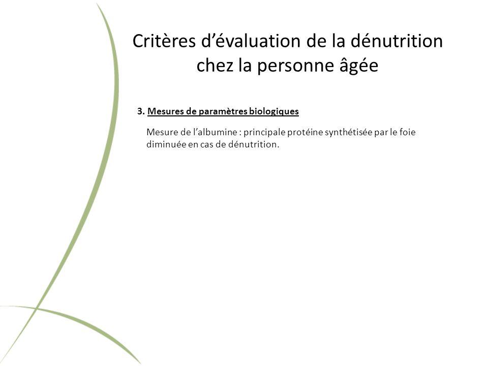 Critères dévaluation de la dénutrition chez la personne âgée 3.