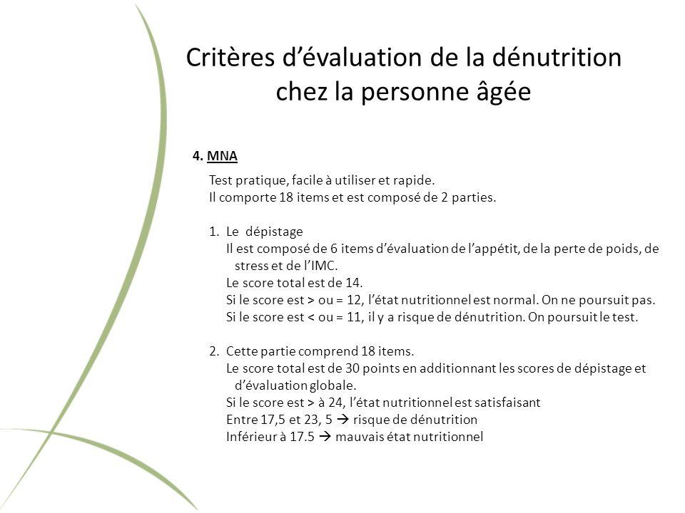 Critères dévaluation de la dénutrition chez la personne âgée 4.
