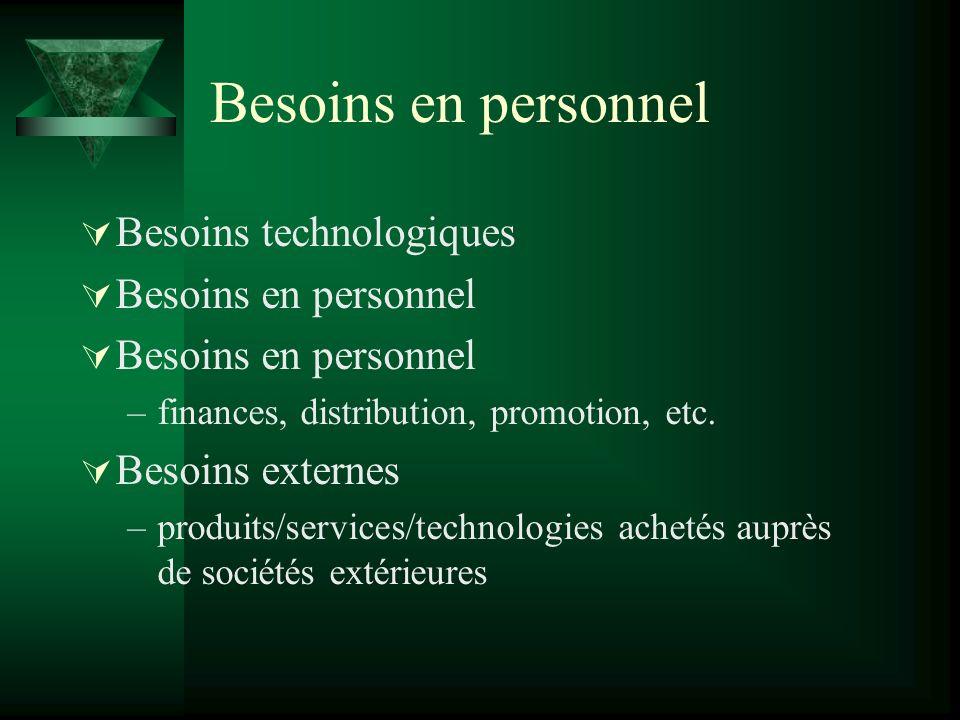 Besoins en personnel Besoins technologiques Besoins en personnel –finances, distribution, promotion, etc.