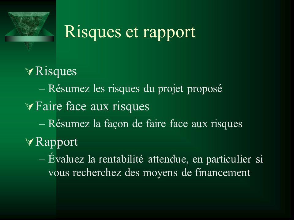 Risques et rapport Risques –Résumez les risques du projet proposé Faire face aux risques –Résumez la façon de faire face aux risques Rapport –Évaluez la rentabilité attendue, en particulier si vous recherchez des moyens de financement