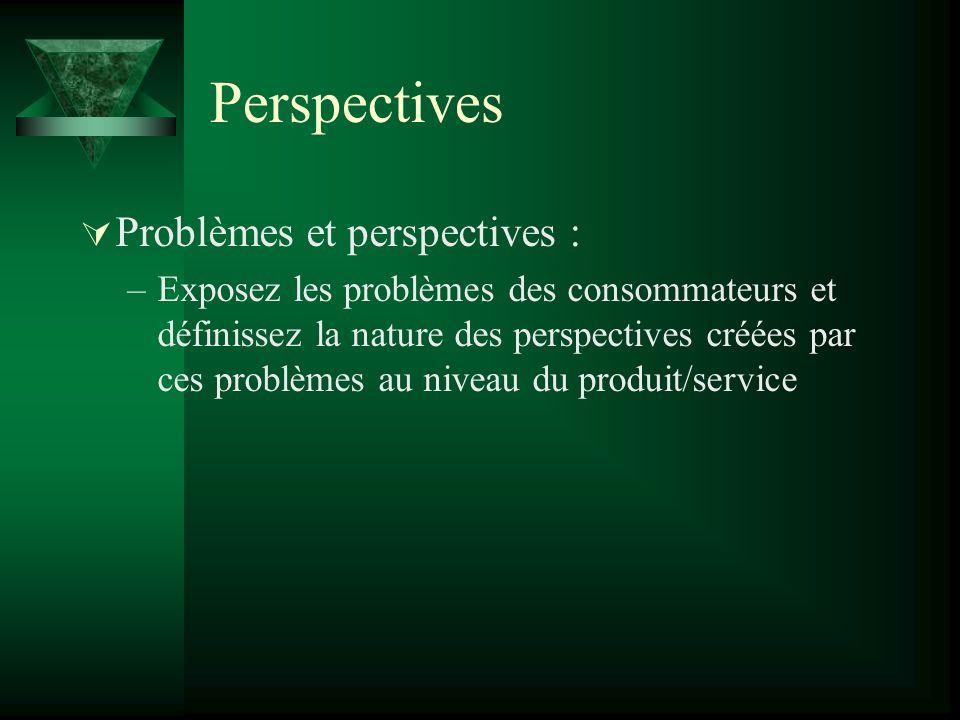 Perspectives Problèmes et perspectives : –Exposez les problèmes des consommateurs et définissez la nature des perspectives créées par ces problèmes au niveau du produit/service