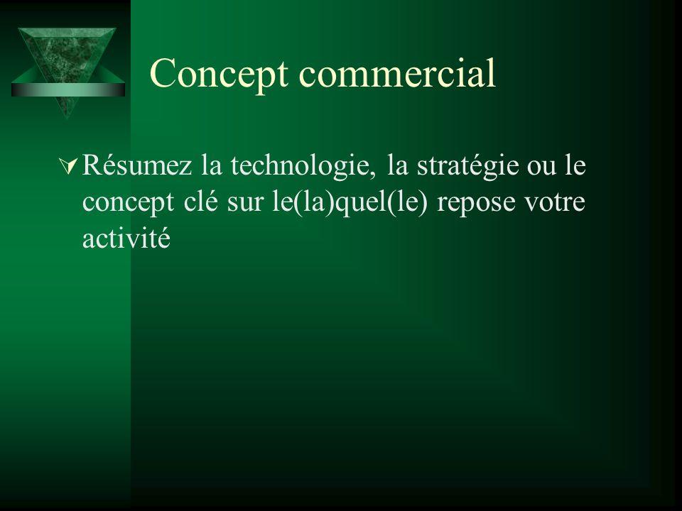 Concept commercial Résumez la technologie, la stratégie ou le concept clé sur le(la)quel(le) repose votre activité