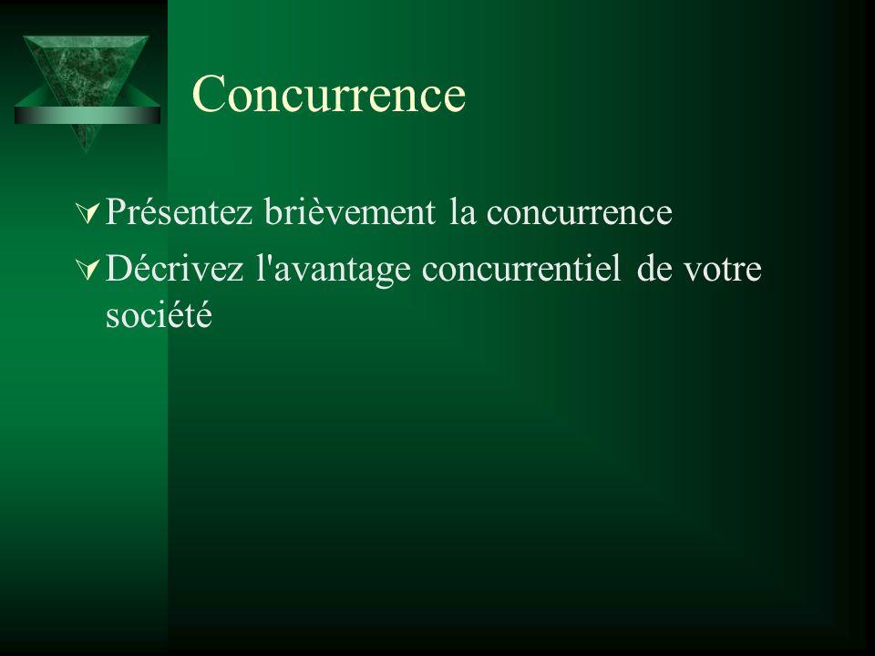 Concurrence Présentez brièvement la concurrence Décrivez l avantage concurrentiel de votre société
