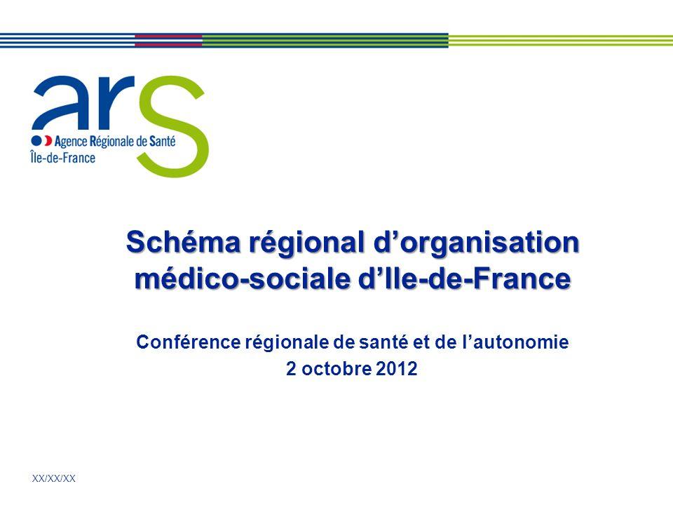 XX/XX/XX Schéma régional dorganisation médico-sociale dIle-de-France Conférence régionale de santé et de lautonomie 2 octobre 2012
