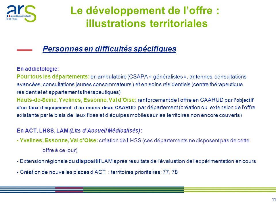 11 Personnes en difficultés spécifiques En addictologie: Pour tous les départements: en ambulatoire (CSAPA « généralistes », antennes, consultations a