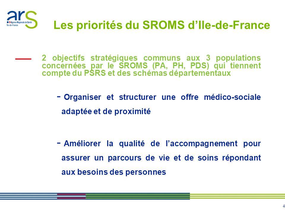 4 Les priorités du SROMS dIle-de-France 2 objectifs stratégiques communs aux 3 populations concernées par le SROMS (PA, PH, PDS) qui tiennent compte d