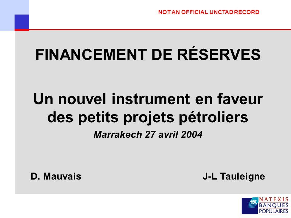 12 4-Cas pratique : Financement de Réserves Cash Disponible 29 MUSD Financement de 18 à 19 MUSD Financement de la campagne de forage