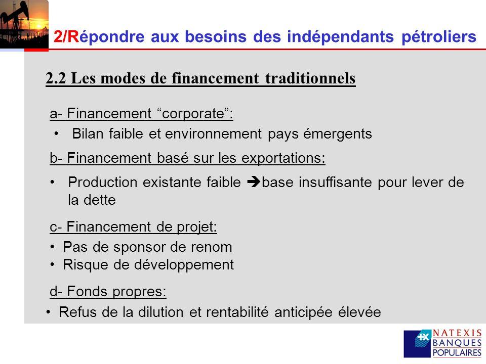 7 Financement des indépendants pétroliers en pays émergents êRépond à leurs besoins êLimite le risque politique êPermet un suivi dynamique des risques de performance (développement et liquidité) A la recherche du produit approprié qui :
