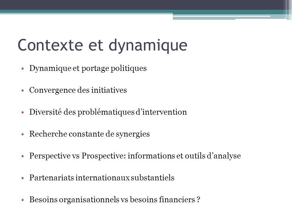 Contexte et dynamique Dynamique et portage politiques Convergence des initiatives Diversité des problématiques dintervention Recherche constante de sy