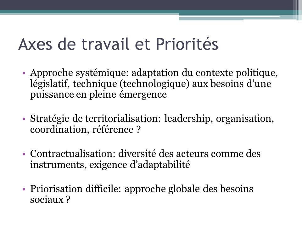 Axes de travail et Priorités Approche systémique: adaptation du contexte politique, législatif, technique (technologique) aux besoins dune puissance e
