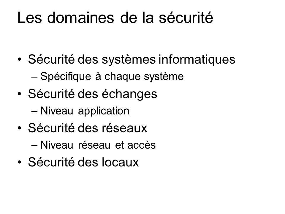 Les domaines de la sécurité Sécurité des systèmes informatiques –Spécifique à chaque système Sécurité des échanges –Niveau application Sécurité des ré
