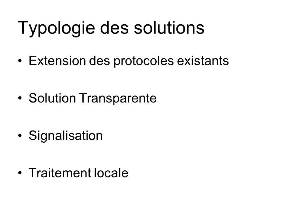 Typologie des solutions Extension des protocoles existants Solution Transparente Signalisation Traitement locale