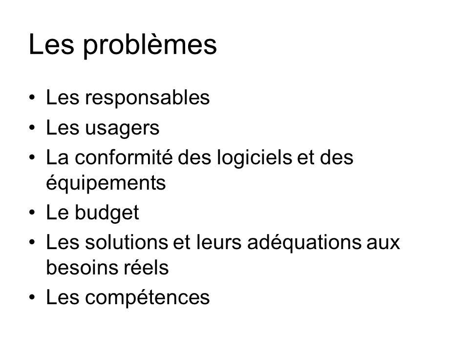 Les problèmes Les responsables Les usagers La conformité des logiciels et des équipements Le budget Les solutions et leurs adéquations aux besoins rée