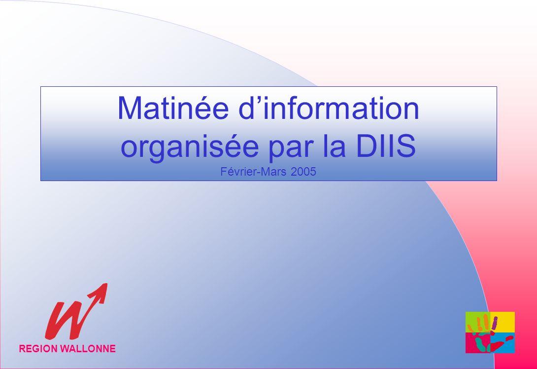 Matinée dinformation organisée par la DIIS Février-Mars 2005 REGION WALLONNE