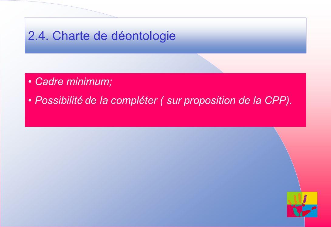 2.4. Charte de déontologie Cadre minimum; Possibilité de la compléter ( sur proposition de la CPP).
