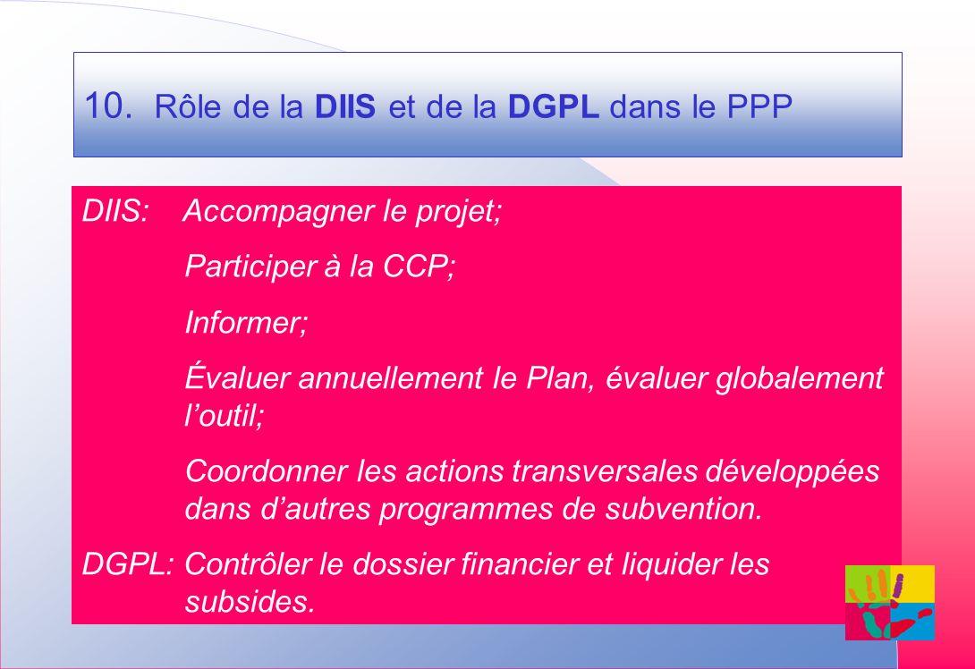 10. Rôle de la DIIS et de la DGPL dans le PPP DIIS: Accompagner le projet; Participer à la CCP; Informer; Évaluer annuellement le Plan, évaluer global
