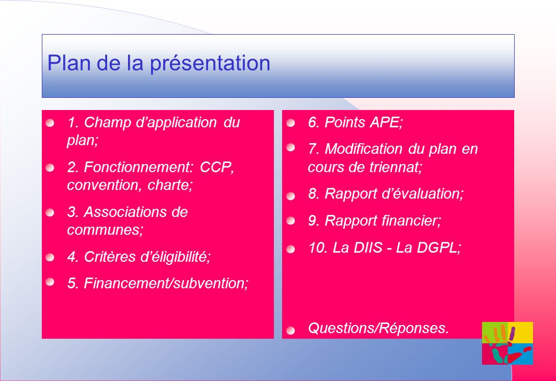 1. Champ dapplication du plan; 2. Fonctionnement: CCP, convention, charte; 3.