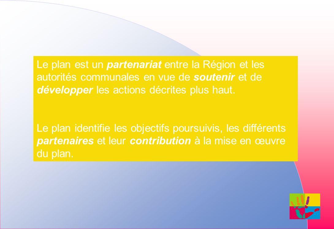 Le plan est un partenariat entre la Région et les autorités communales en vue de soutenir et de développer les actions décrites plus haut.