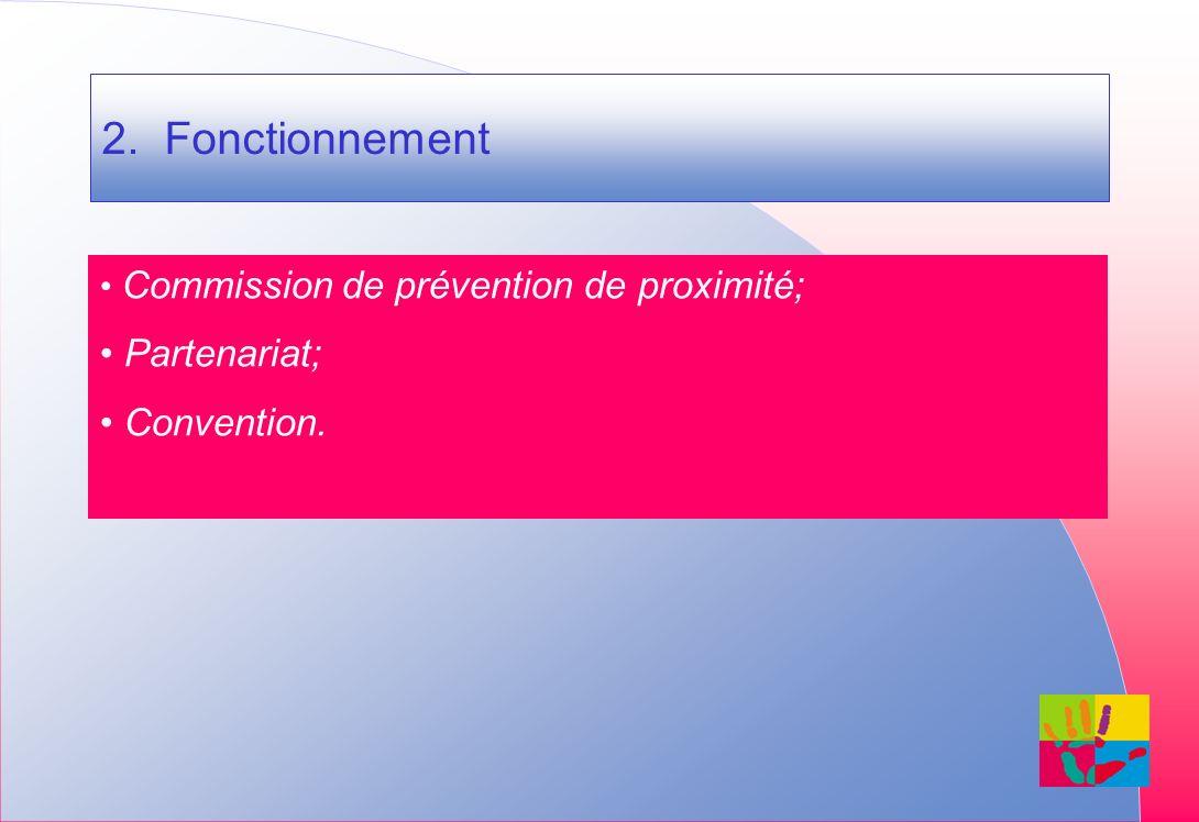 2. Fonctionnement Commission de prévention de proximité; Partenariat; Convention.
