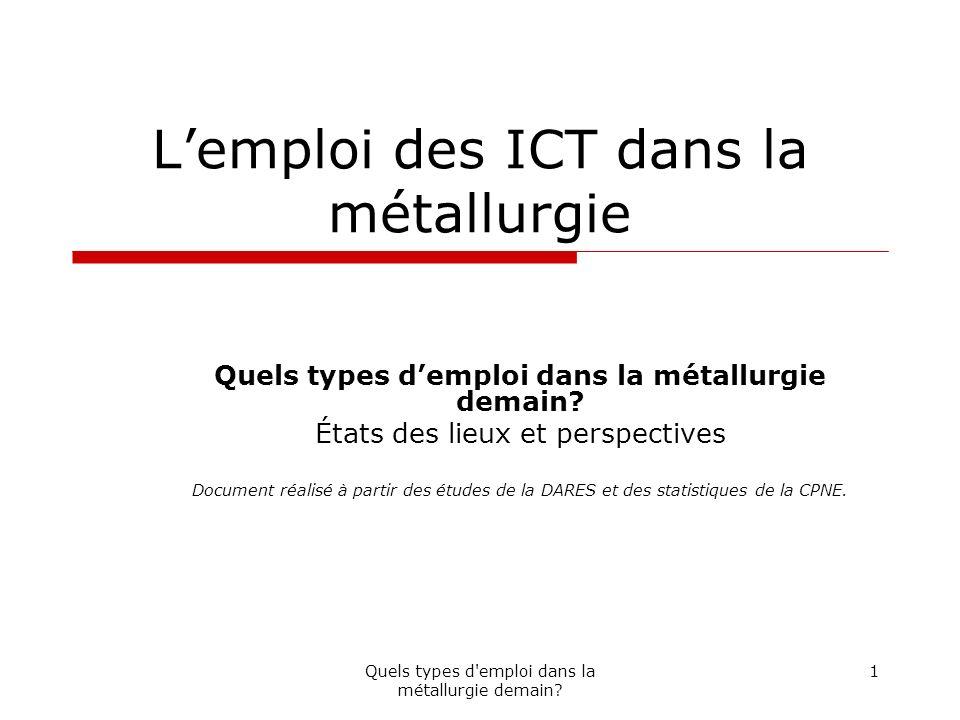 Quels types d emploi dans la métallurgie demain.12 V.