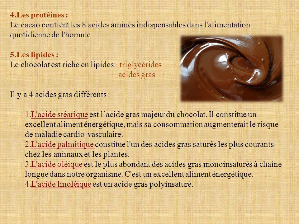 4.Les protéines : Le cacao contient les 8 acides aminés indispensables dans l'alimentation quotidienne de l'homme. 5.Les lipides : Le chocolat est ric