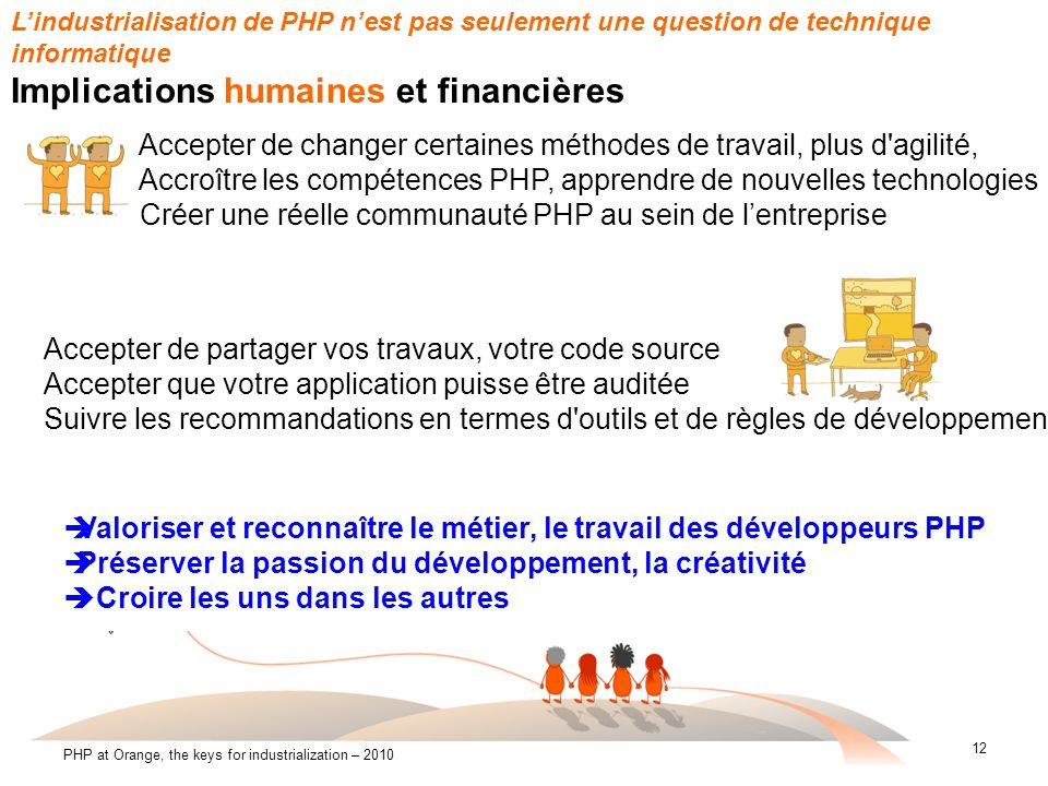 12 PHP at Orange, the keys for industrialization – 2010 Lindustrialisation de PHP nest pas seulement une question de technique informatique Implicatio