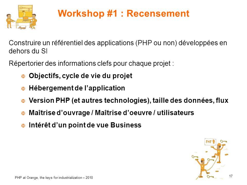 17 PHP at Orange, the keys for industrialization – 2010 Workshop #1 : Recensement Construire un référentiel des applications (PHP ou non) développées