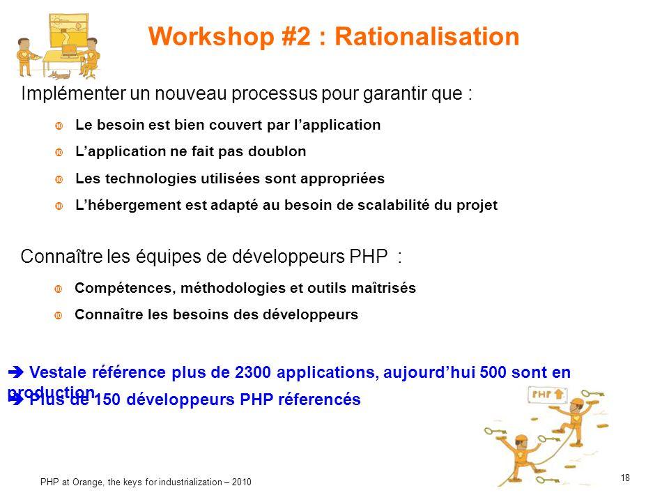 18 PHP at Orange, the keys for industrialization – 2010 Workshop #2 : Rationalisation Implémenter un nouveau processus pour garantir que : Le besoin e