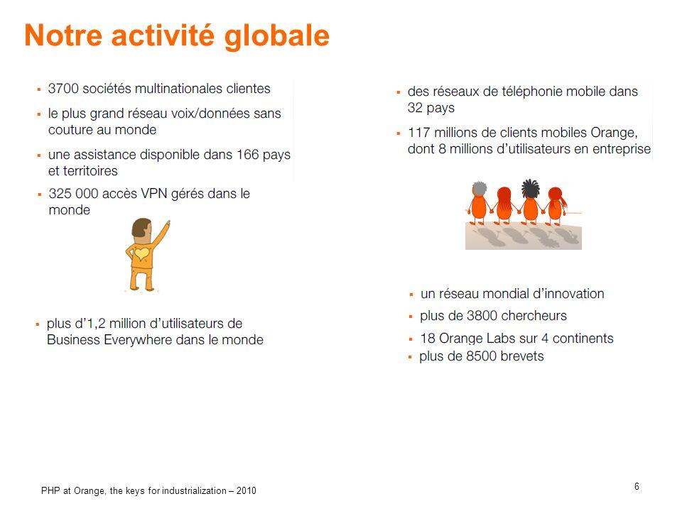 6 PHP at Orange, the keys for industrialization – 2010 Notre activité globale