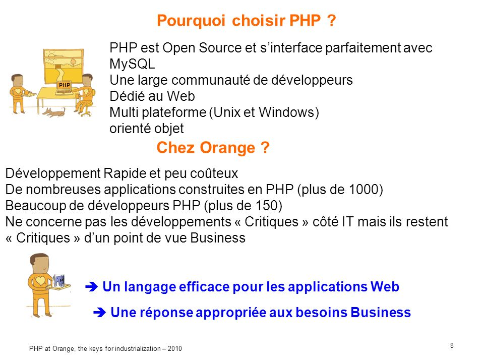 8 PHP at Orange, the keys for industrialization – 2010 Pourquoi choisir PHP .