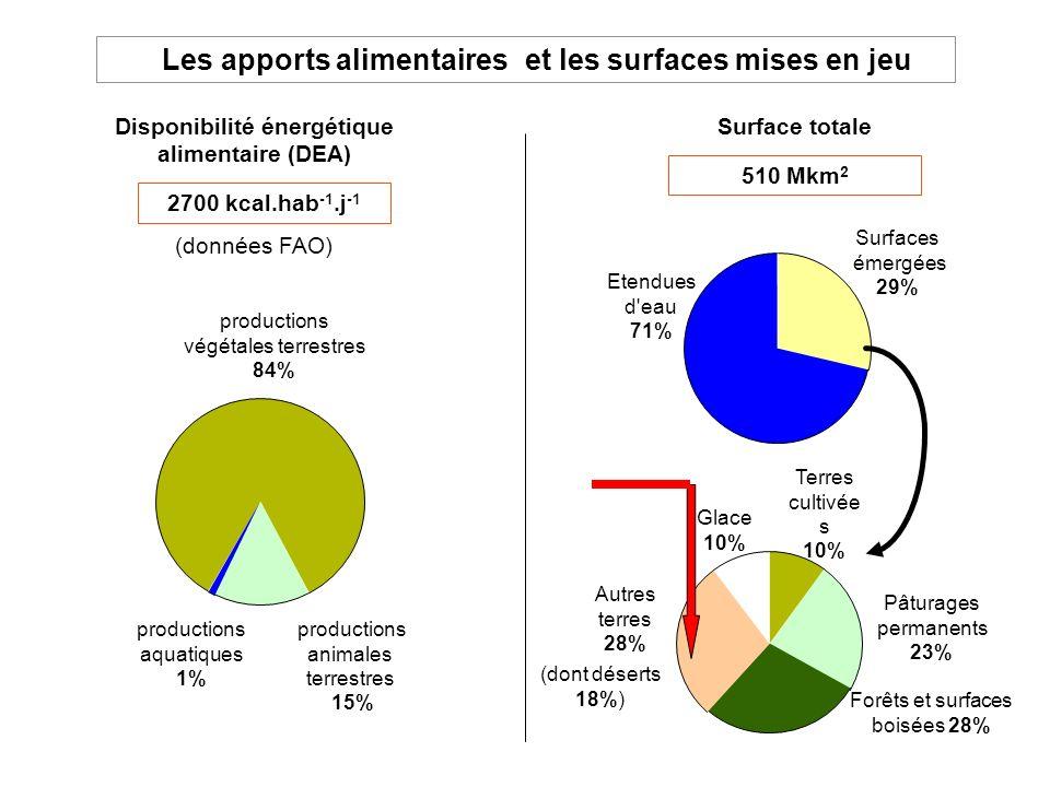 Les apports alimentaires Disponibilité énergétique alimentaire (DEA) productions végétales terrestres 84% productions animales terrestres 15% producti